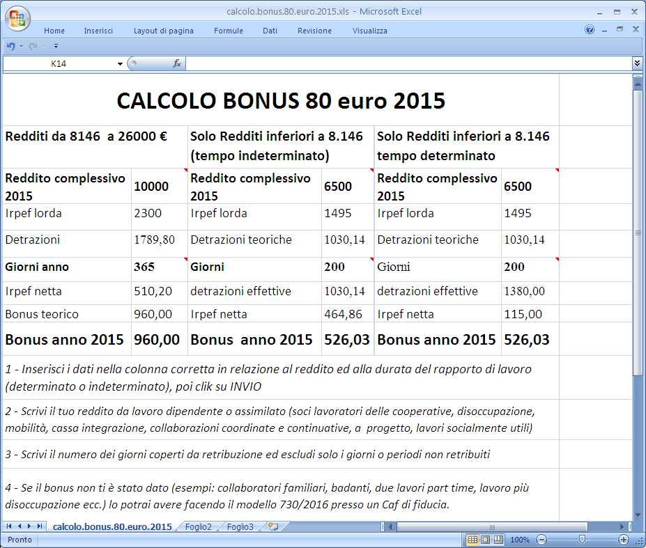 calcolo bonus 80 euro 2015